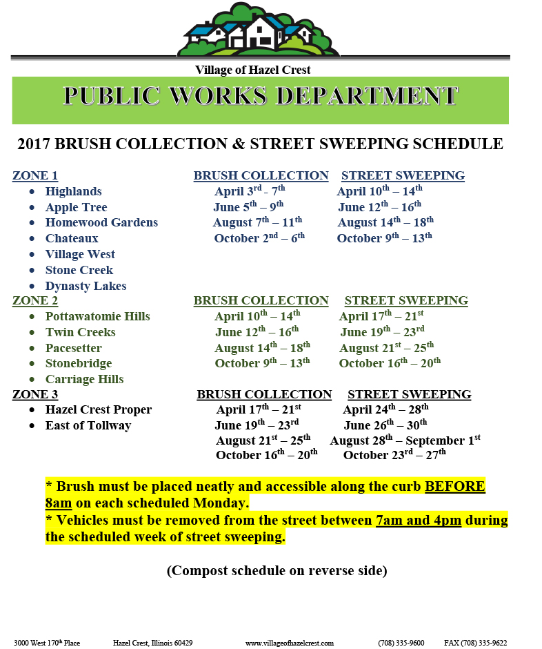 BRUSH COLLECTION AND STREET SWEEPING SCHEDULE