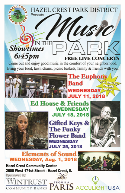 Wednesdays Music in the Park (July 11, 18, 25 & Aug 1)